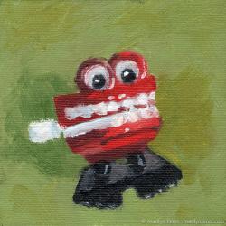 Akk-akk-akk-akk-akk-Oil-on-canvas-4x4-inches-copyright-2011-Marilyn-Fenn