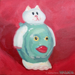 Catfish-pepper-shaker-Oil-on-canvas-6x6-inches-copyright-2011-Marilyn-Fenn