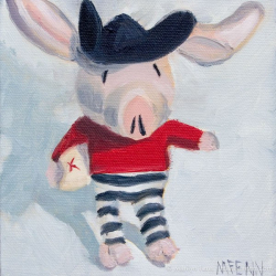 Pirate-Pig-in-Search-of-Buried-Treasure-Oil-on-canvas-6x6-inches-copyright-2011-Marilyn-Fenn