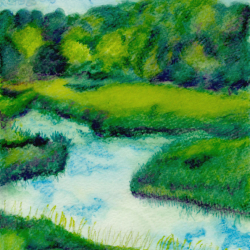 River-And-Trees-At-Rumsiskes-Cropped-Watercolor-pencil-on-watercolor-paper-10x7-inches-copyright-2005-Marilyn-Fenn