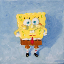 Spongebob-Squarepants-Oil-on-canvas-6x6-inches-copyright-2011-Marilyn-Fenn