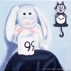 The-Woobie-Is-Awake-Oil-on-canvas-10x10-inches-copyright-2011-Marilyn-Fenn