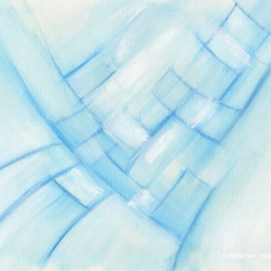 Emerging Convergence Blue - Small abstract painting on paper by Marilyn Fenn