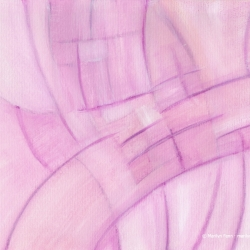 Emerging Convergence Fushia - Small abstract painting on paper by Marilyn Fenn